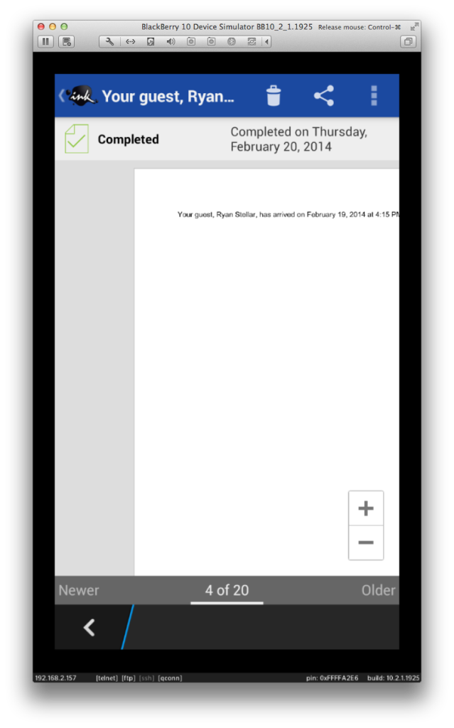 DocuSign for BlackBerry 10: Document View