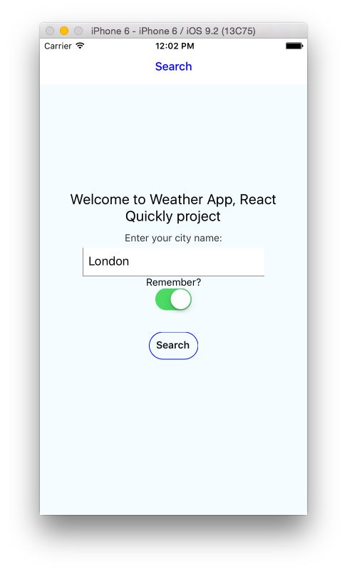 Figure 10: Weather app with city name search input