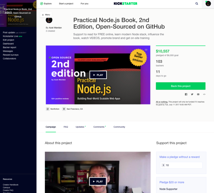 Practical Node.js, 2nd Edition Kickstarter campaign