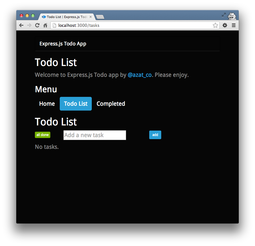 The empty Todo List page.
